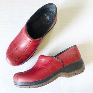 Dansko @ Work Red Leather Slip On Clog Shoe 40 EUC